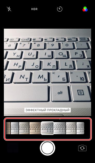 Выбор фильтра в приложении Камера на iPhone
