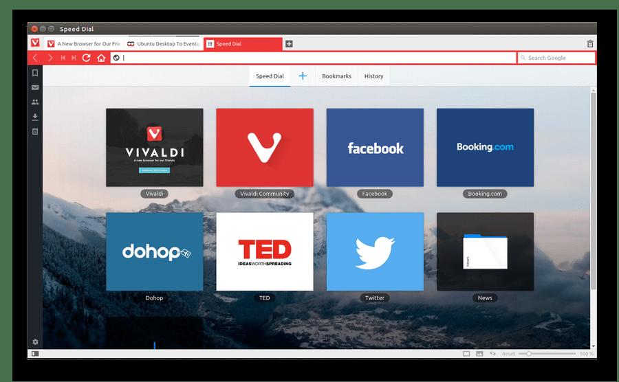 Браузер Vivaldi для Linux