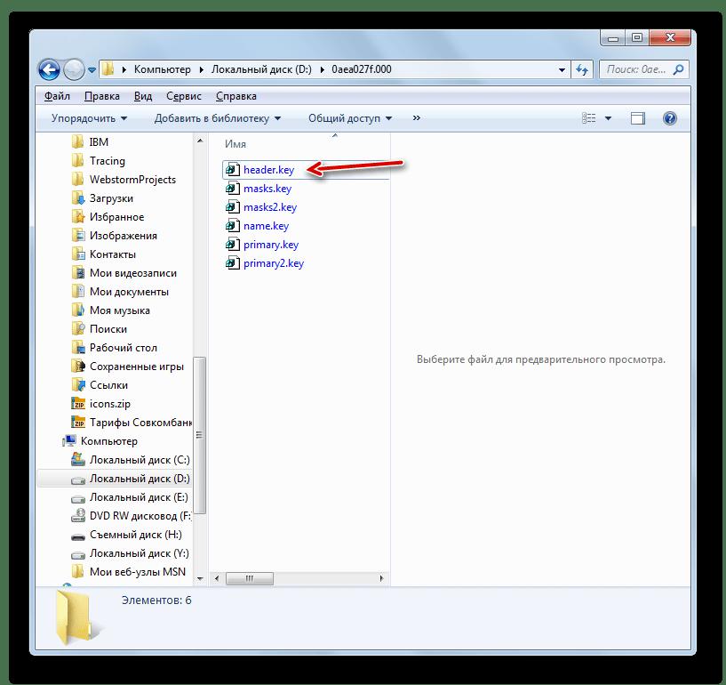 Файл header.key в Проводнике в Windows 7