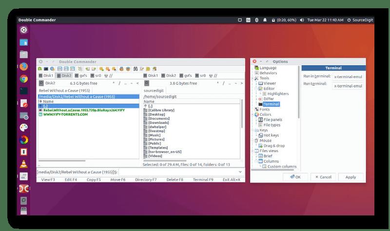 Файловый менеджер Double Commander в Ubuntu
