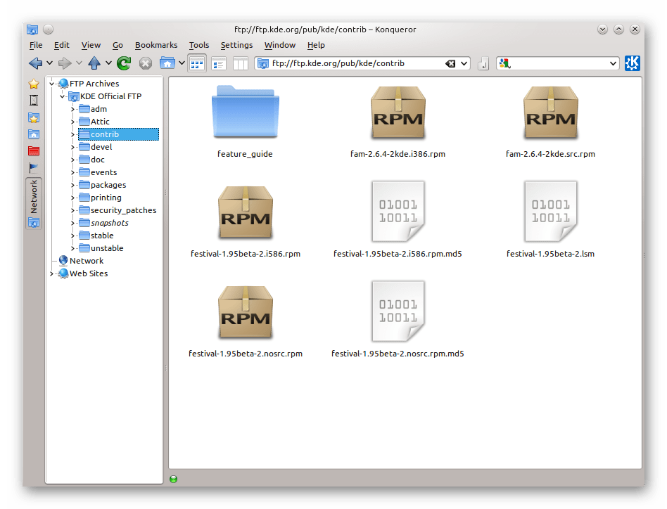 Файловый менеджер Konqueror в Ubuntu