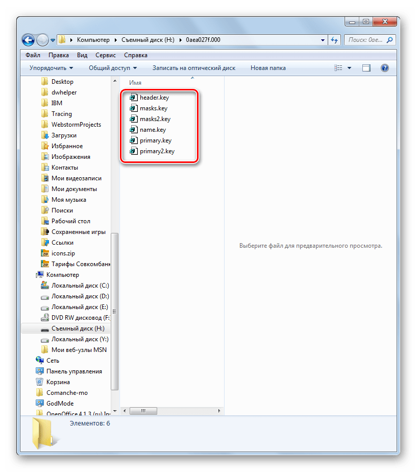 Файлы с расширением key в папке с ключами на флешке в Проводнике в Windows 7