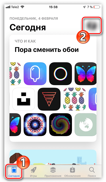 Меню профиля в App Store на iPhone