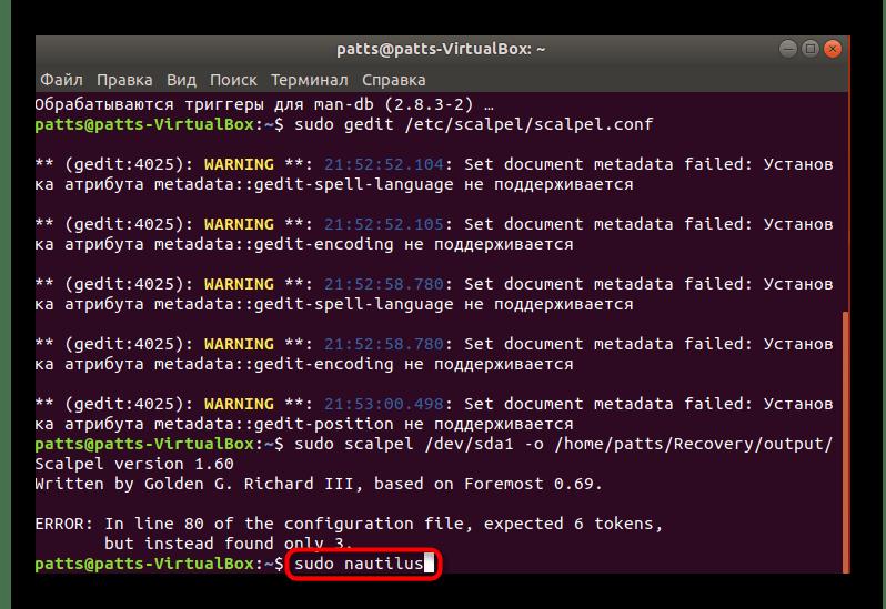 Переход к файловому менеджеру для просмотра файлов Scalpel в Ubuntu