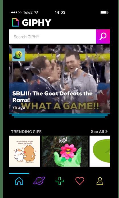 Поиск нужной гифки в приложении Giphy на iPhone