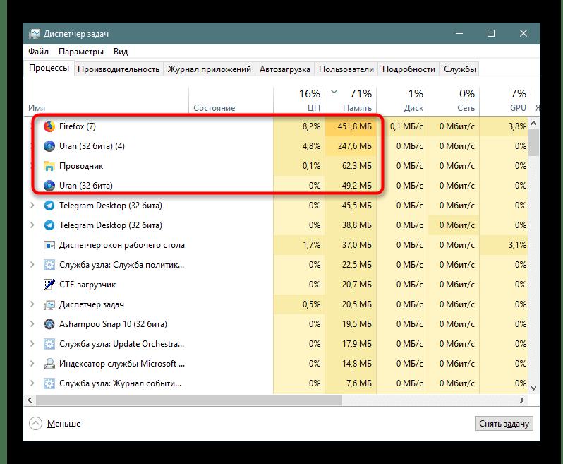 Потребление ресурсов браузером Uran в сравнении с Mozilla Firefox в Диспетчере задач