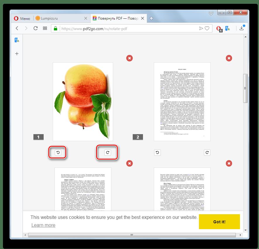 Поворот страницы файла PDF на сайте PDF2GO в браузере Opera