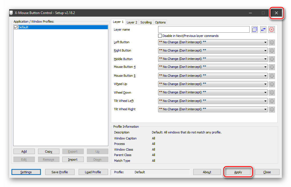 Применение настроек языка в программе X-Mouse Button Control