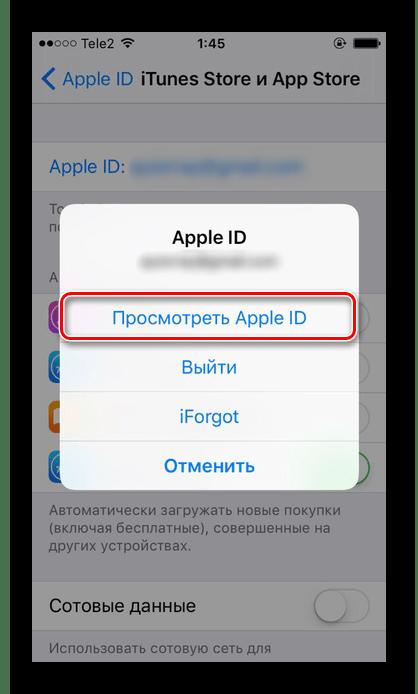 Просмотр Apple ID в настройках iPhone для привязки банковской карты