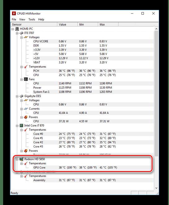 Просмотр информации в HWMonitor в Windows 10