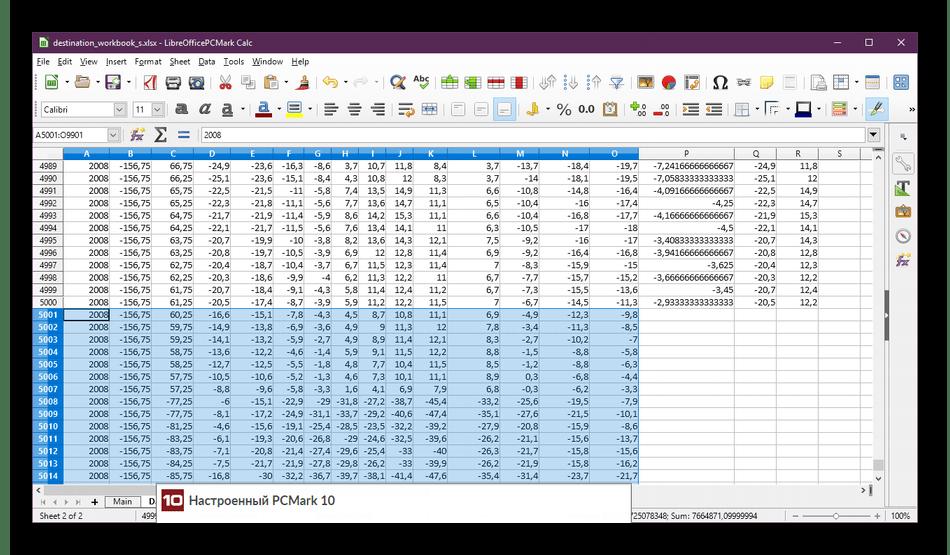 Работа с таблицами в программе PCMark