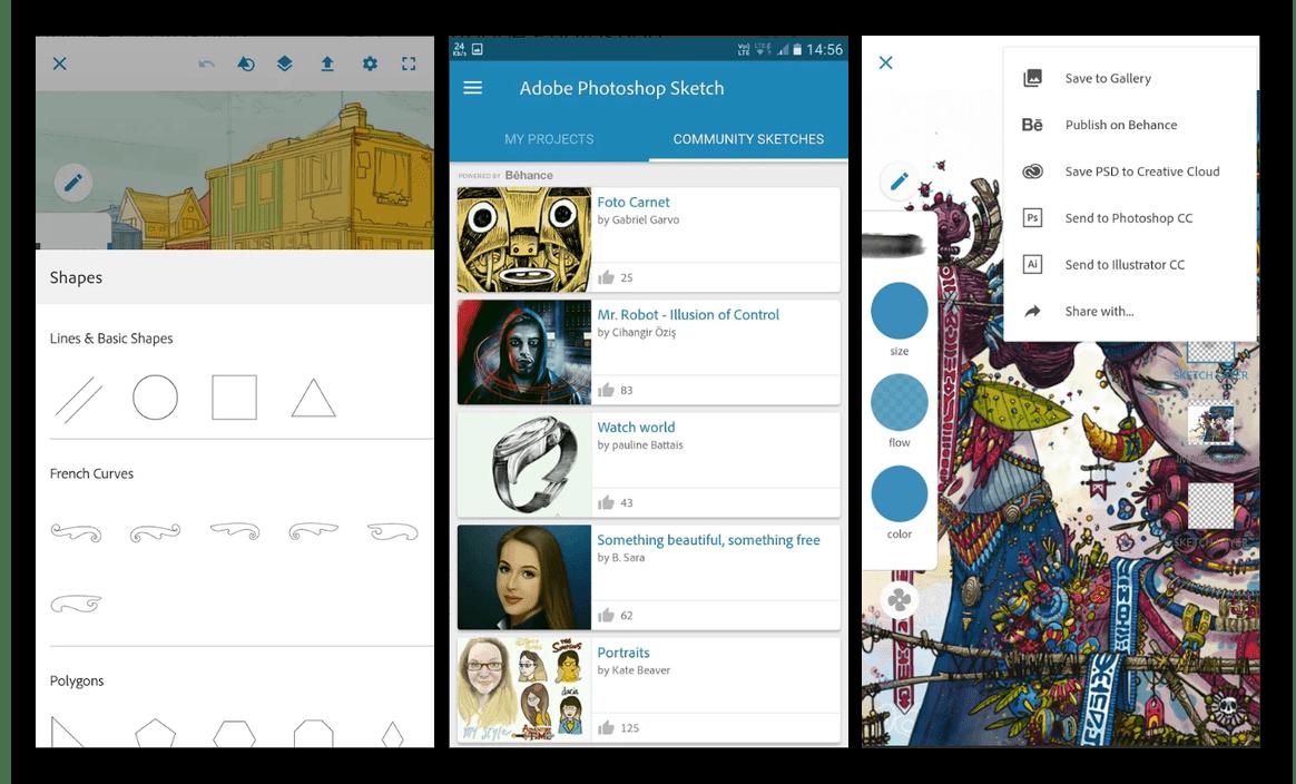 Скачать приложение для рисования на Android Adobe Photoshop Sketch