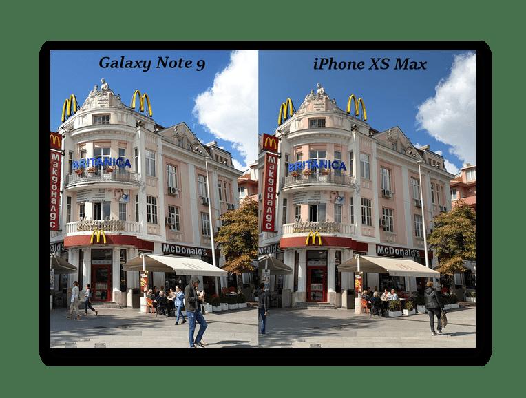 Сравнение обработки белого цвета на фотографии на iPhone XS Max и Galaxy Note 9