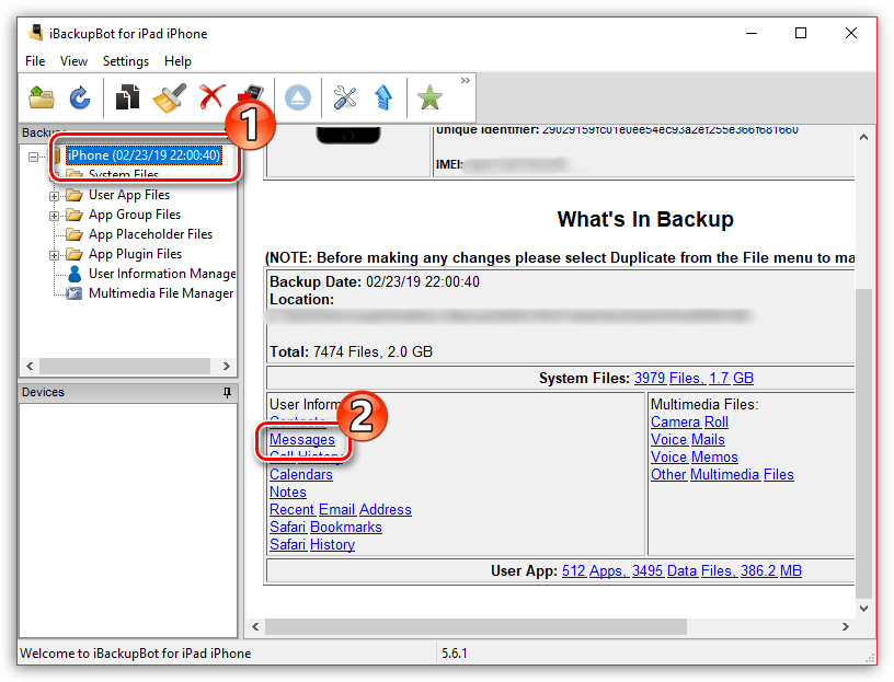 Управление сообщениями iPhone в программе iBackupBot