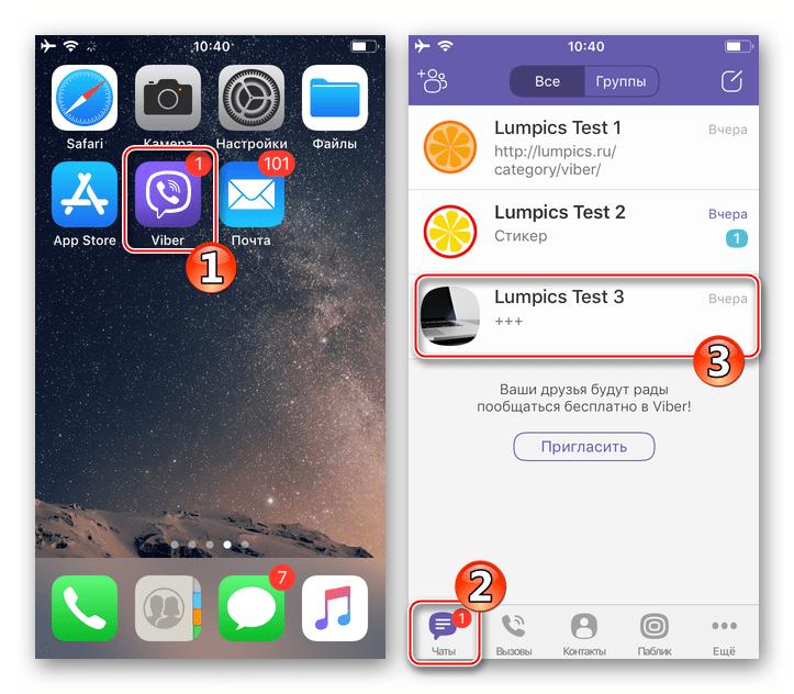 Viber для iPhone - вкладка Чаты - переход в диалог с удаляемыми сообщениями