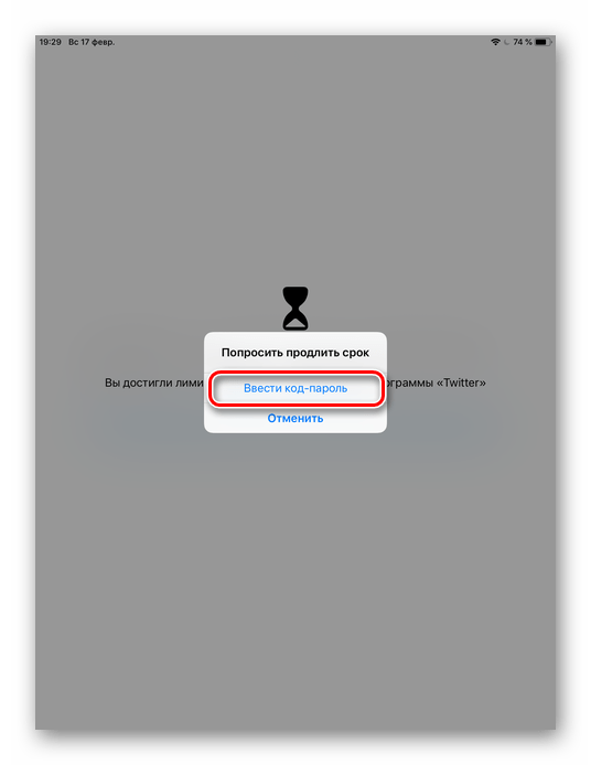 Ввод кода-пароля для входа в настройки лимита времени на приложение на iPhone