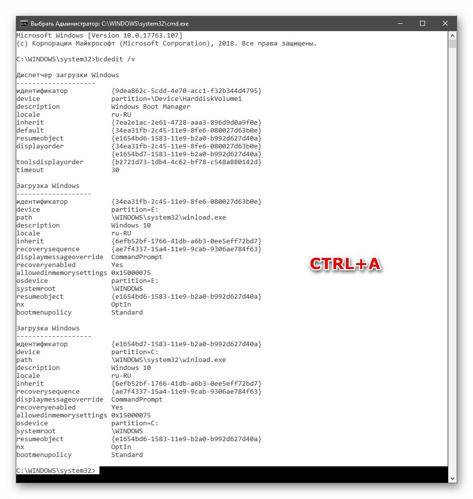 Выделение всего содержимого Командной строки в Windows 10