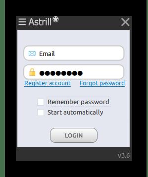 Авторизация при открытии программы Astrill для Ubuntu