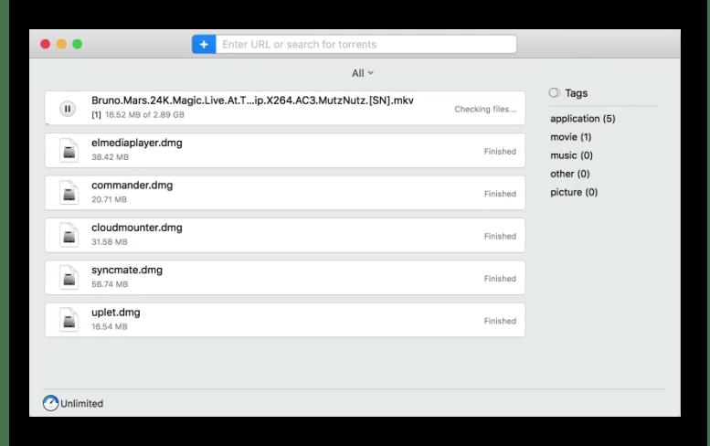 Главное окно Folx - торрент клиента для macOS