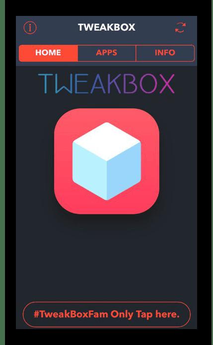 Главное окно программы TweakBox на iPhone для установки приложений в обход App Store