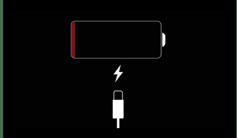 Индикатор при недостаточном заряде батареи iPad