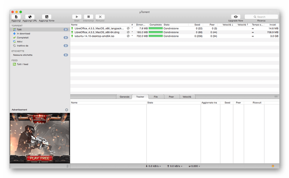 Интерфейс программы µTorrent - торрент клиента для macOS