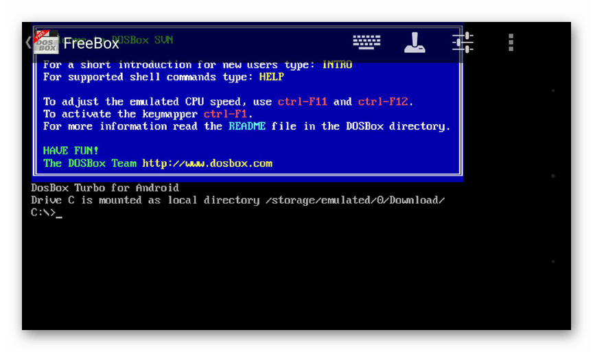 Использование DosBox на устройстве Android