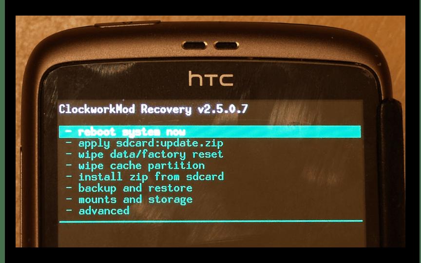 Использование меню Рекавери на Android устройстве HTC