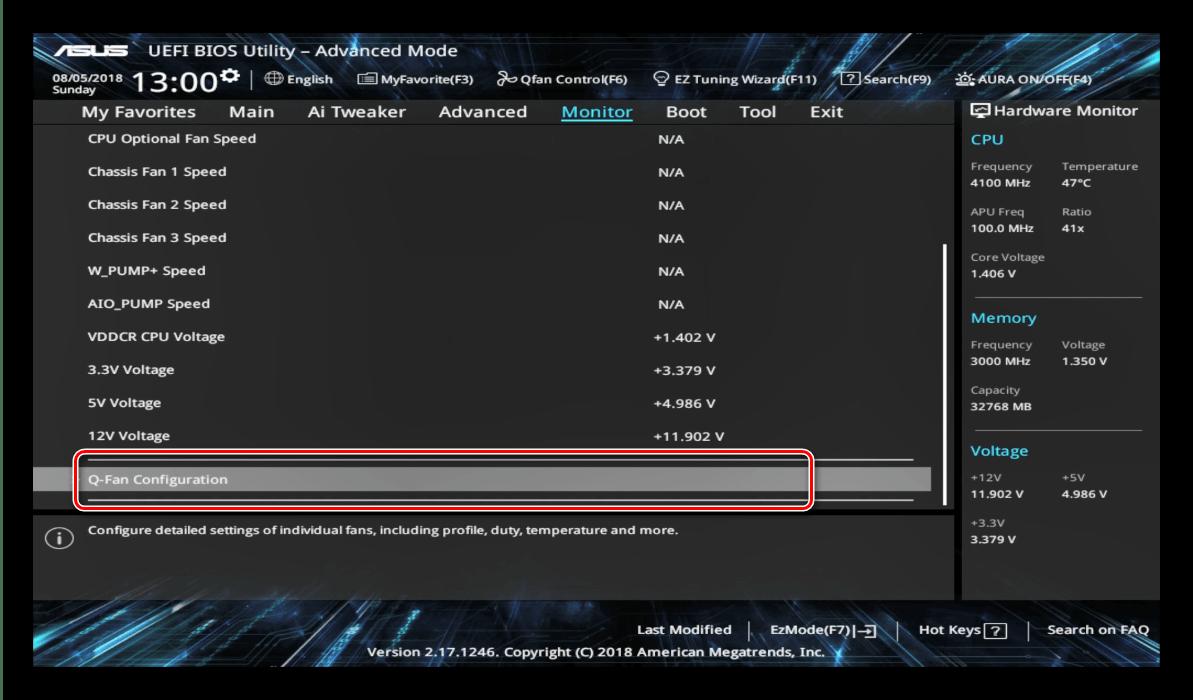 Контроль работы охлаждения во время настройки UEFI BIOS Utility
