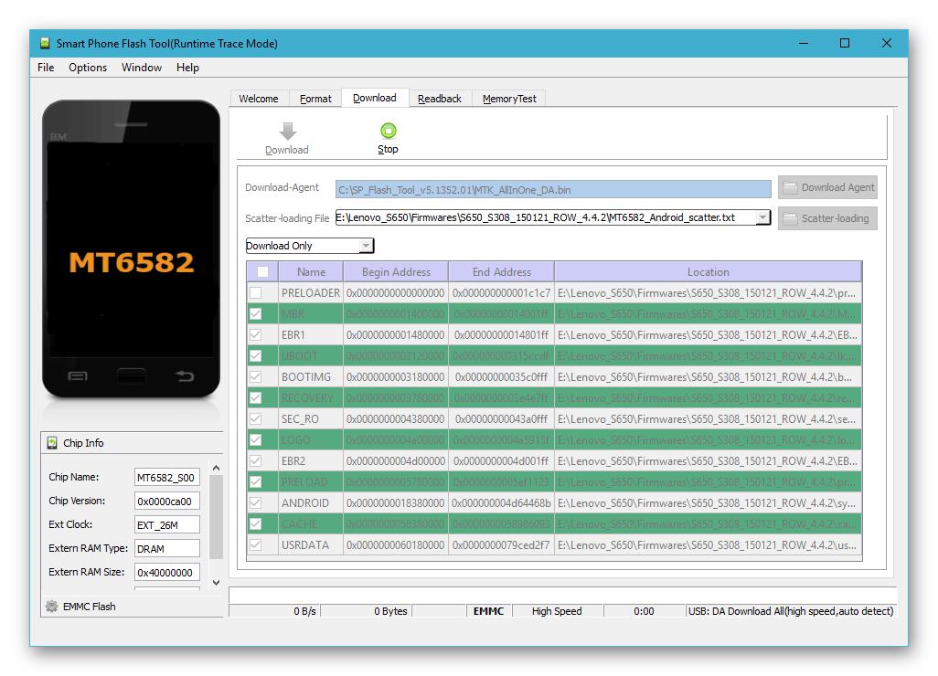 Lenovo S650 SP Flash Tool подключение девайса для прошивки к ПК