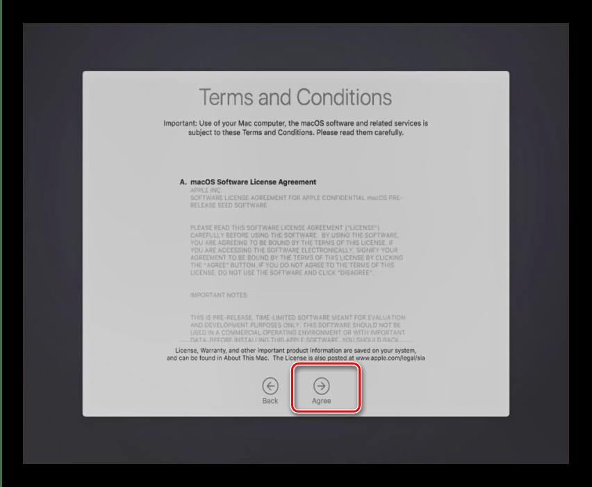 Лицензионное соглашение в процессе установки macOS на VirtualBox