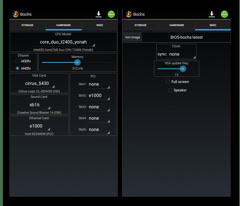 Настройка мощности эмулятора Bochs на Android