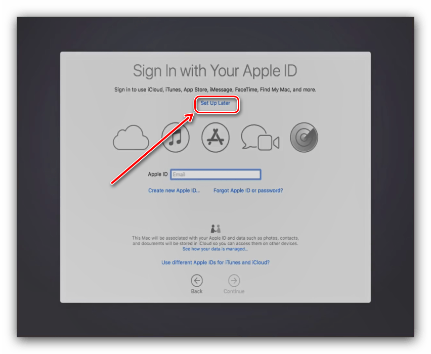 Отказ от ввода AppleID в процессе установки macOS на VirtualBox