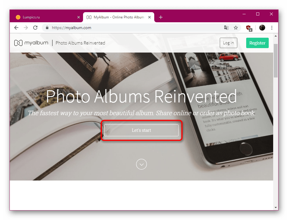 Переход к работе с сервисом MyAlbum для создания фотокниги