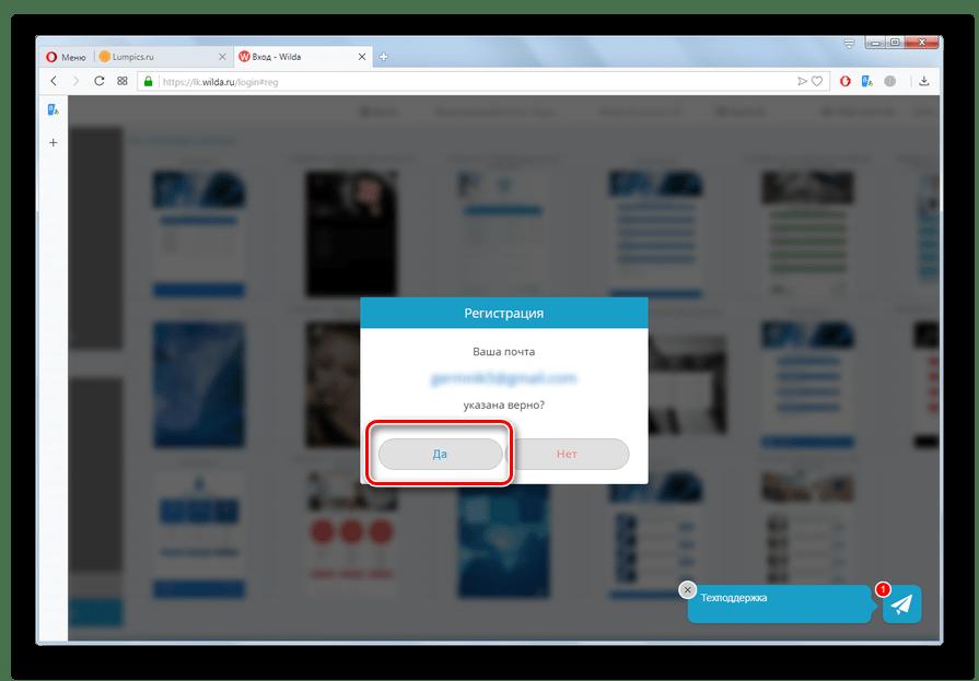 Подтверждение правильности введения почтового ящика на сайте Wilda в браузере Opera