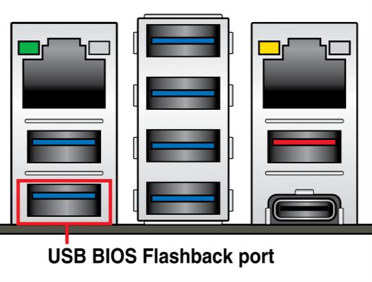 Порт USB, обозначенный как совместимый с ASUS Flashback для отката версии BIOS
