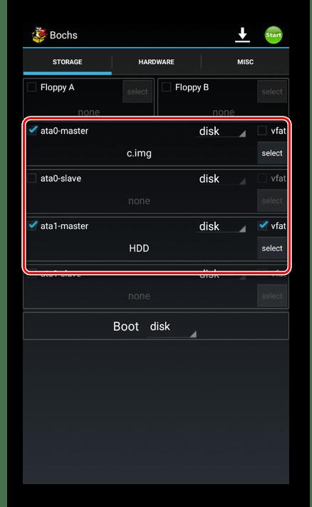 Правильно добавленные файлы в Bochs на Android