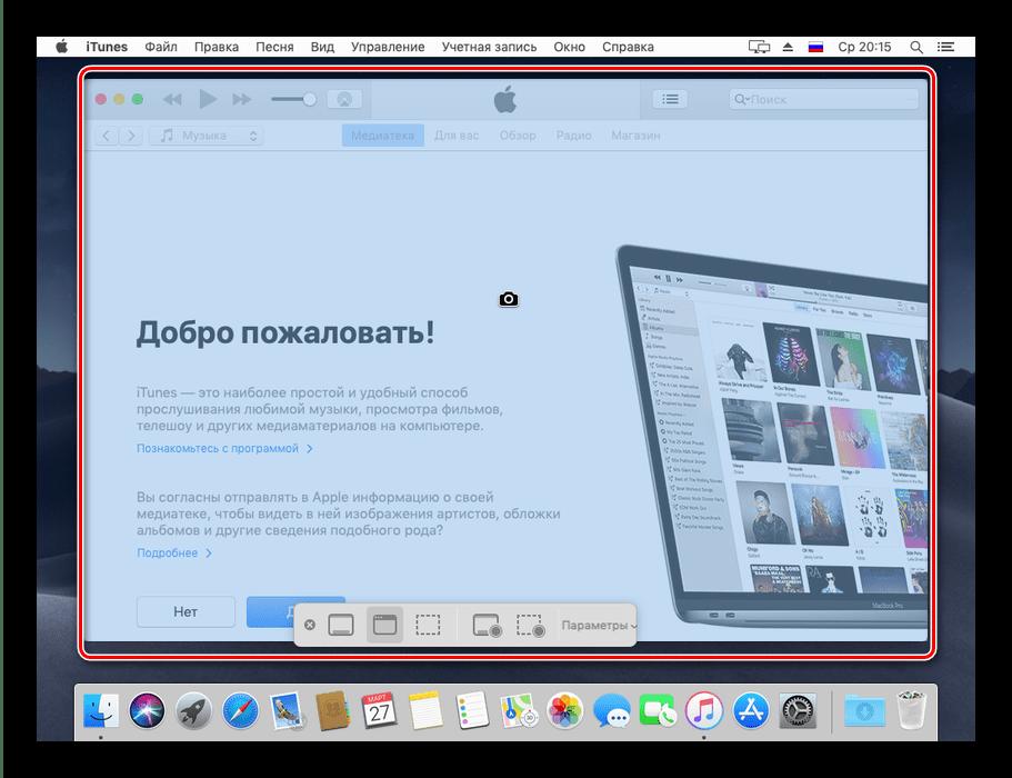 Пример скриншота отдельного окна в инструменте скриншотера на macOS Mojave
