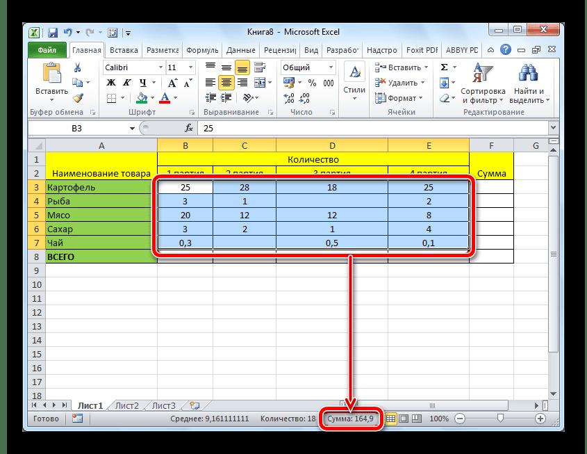 Просмотр суммы выделенных значений в таблице в строке состояния Microsoft Excel