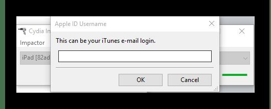 Процесс ввода Apple ID в программе Cydia Impactor для установки приложения на iPad в обход App Store