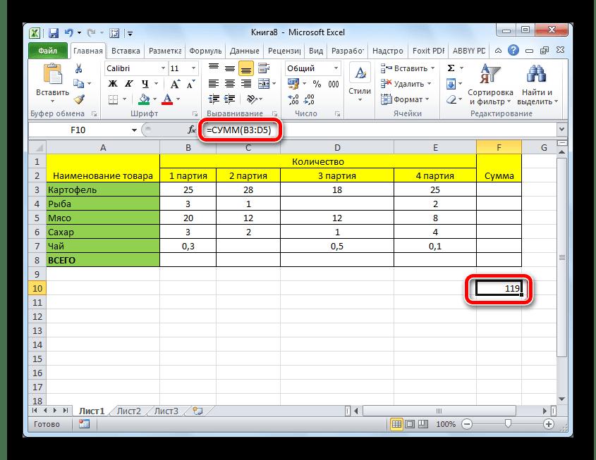 Результат подсчета суммы с помощью аргумента функции в Microsoft Excel