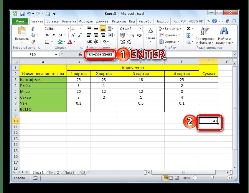 Результат подсчета суммы с помощью формулы в Microsoft Excel