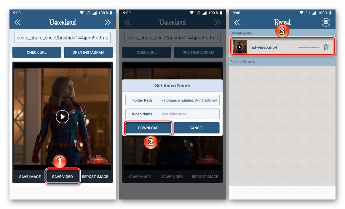 Скачивание видео из Instagram в приложении Instg Dowload на телефоне с Android