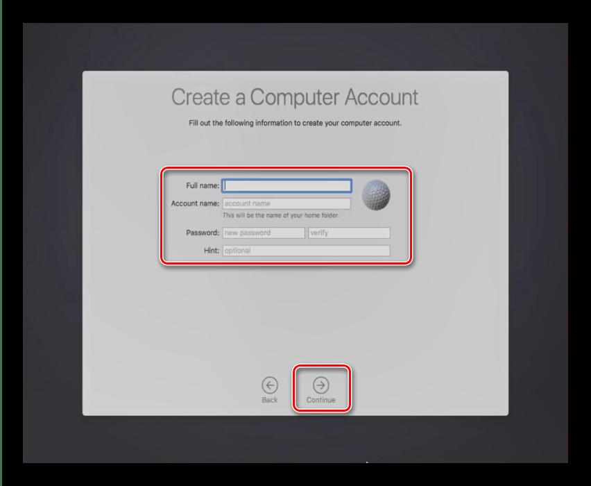 Создание учётной записи в процессе установки macOS на VirtualBox