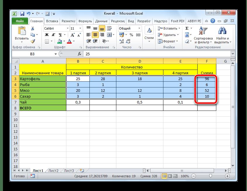 Сумма значений для нескольких строк таблицы подсчитана в Microsoft Excel