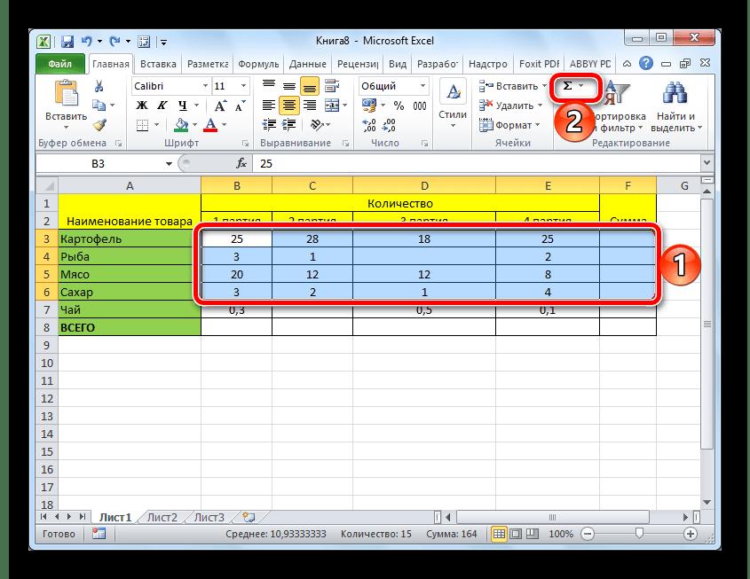 Суммирование значений в нескольких строках электронной таблицы Microsoft Excel