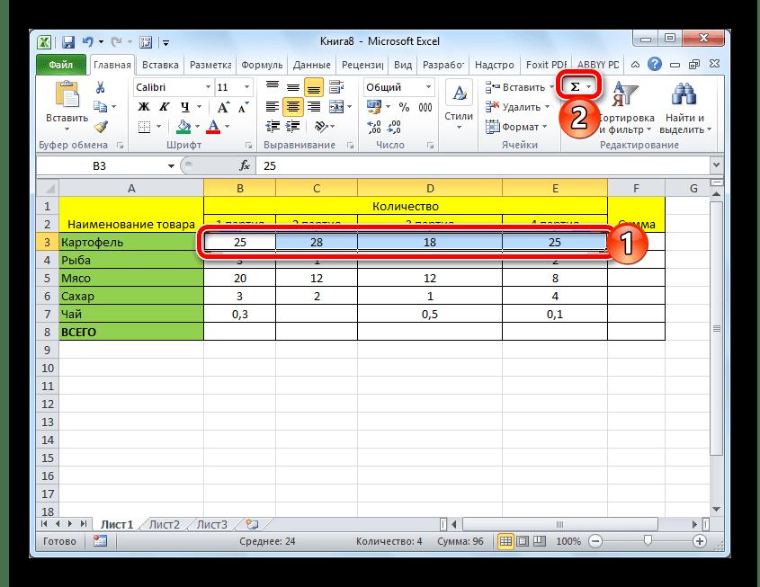 Суммирование значений в таблице с помощью Автосуммы в Microsoft Excel