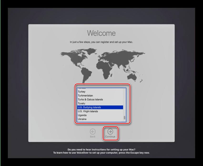 Выбор региона в процессе установки macOS на VirtualBox
