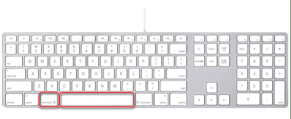 Вызов поиска Spotlight с помощью горячих клавиш на компьютере с macOS