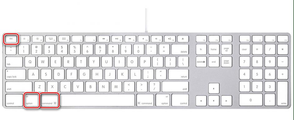 Вызов средства Принудительное завершение программ на компьютере с macOS